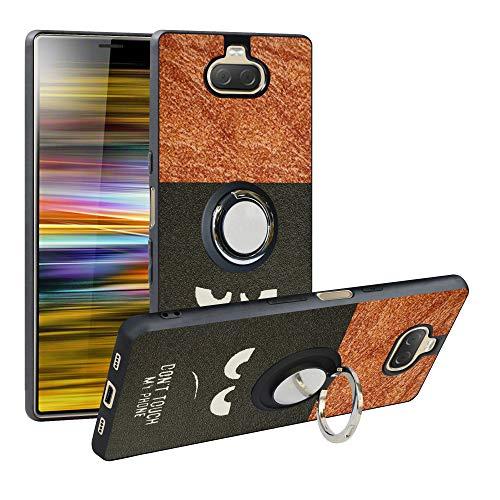 Funda para Sony Xperia 10, Fashion Design [Antigolpes] con 360 Anillo iman Soporte, Resistente a los arañazos TPU Funda Protectora Case Cover para Xperia 10,Do Not Touch