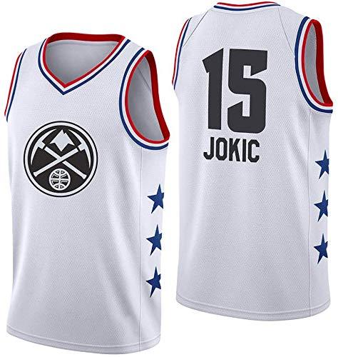 Baloncesto Jerseys # 15 Jokic NBA Nuggets De 2019 Estación De Estrellas Bordado Casual Formación Transpirable Sudor Competencia Jersey Tapas del Tanque para Los Fanáticos del Mens Boys White-S