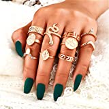 Cathercing 10 Pcs Women Rings Set Knuckle Rings Gold Bohemian Rings for Girls Vintage Gem Crystal Rings Joint Knot Ring Sets for Teens Party Daily Fesvital Jewelry Gift(style 6)