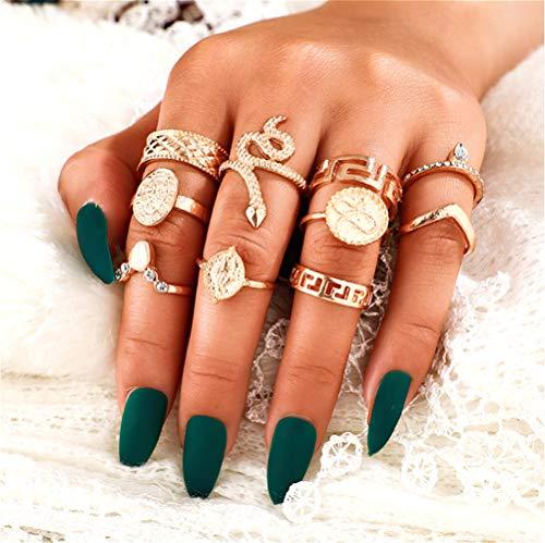Cath, set di 10 anelli in oro per donne e ragazze, stile vintage, per donne e ragazze, anelli a forma di serpente, con nodo articolato, set per adolescenti e feste quotidiane