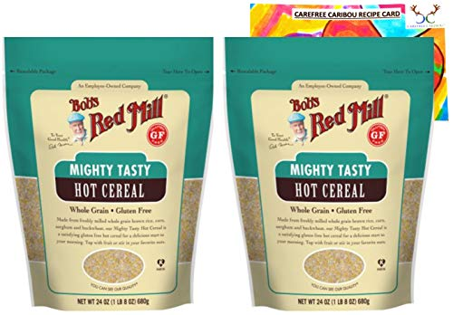 Gluten Free Hot Cereal Bundle. Includes Two (2) 24oz Packages of Bob's Red Mill Gluten Free Mighty Tasty Hot Cereal and an Authentic Carefree Caribou Multigrain Cereal Recipe Card!
