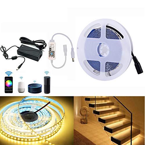 WIFI LED Strip 5M 12V LED Streifen Set 600 LEDs Leiste Lichtleiste mit Netzteil & Controller, 2835 SMD Lichtband, warmweiß, dimmbar, Arbeitet mit Alexa, IFTTT, Google Home Smartphone