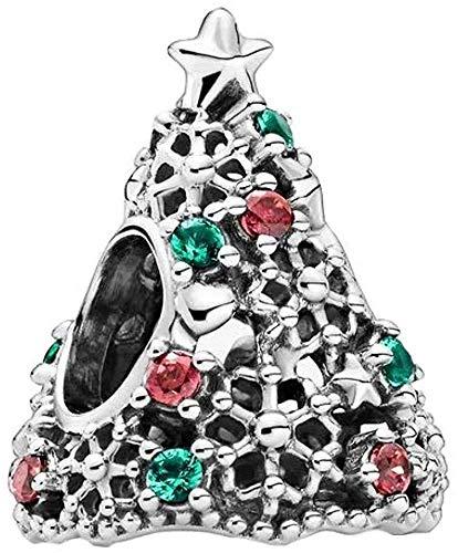 LaMenars Lucky Rose Daisy Flower Woven Infinity Love Charms para pulseras Pandora 925 Silver 5A Cubic Zirconia Beads Regalo para cumpleaños Aniversario Día (Verde árbol)