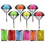 6 pezzi giocattolo da lancio a mano con paracadute per bambini, lancio a mano con paracadute per osservare l'atterraggio, giocattoli da esterno per regali per bambini (multicolore)