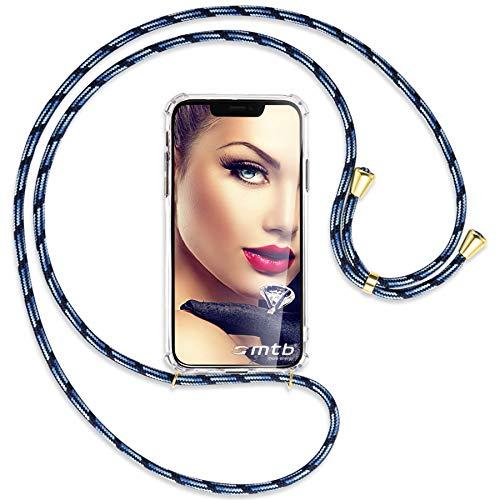 mtb more energy® Collar Smartphone para Xiaomi Redmi 6A (5.45'') - Azul Rayado/Oro - Funda Protectora ponible - Carcasa Anti Shock con Cuerda