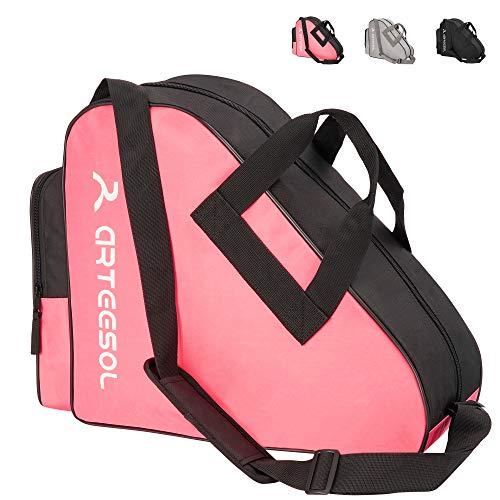 arteesol Rollschuhe Tasche, Inliner Tasche, Schlittschuhe Tasche, Skatertasche für Kinder/Erwachsene(Schwarzes Rosa)