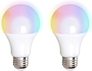A19 LED Smart Light Bulb, 10W, (60W Equivalent), RGB Color Changing, Works with Alexa and Google Assistant, No Hub Required, Color Temperature Changing, Control by App or Voice, E26 Base, (2 Pack)