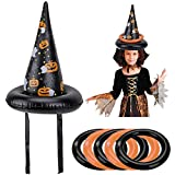 HOWAF 2 Pcs Juego de Lanzamiento de Halloween Sombrero Inflable de Bruja con 6 Anillos Regalo de...