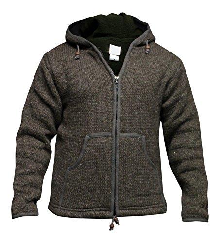 Shopoholc Mode Einfarbig Farben Fleecefutter Gestrickt Aus wolle Jacke Mit Kapuze/Pulli - Braun, M
