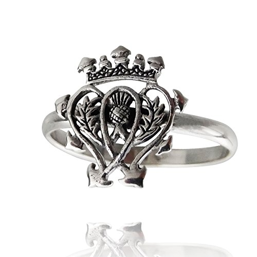 FashionJunkie4Life Sterling Silver Scottish Luckenbooth Ring with 2mm Band, Sizes 6, 7, 8, 9 (7)