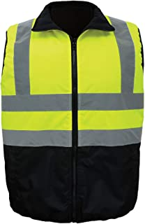Global Glove GLO-V1 - FrogWear HV - High-Visibility Reversible Insulated Safety Vest - X-Large