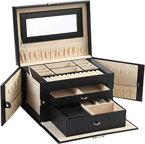 ABO Gear Box Jewelry Case Jewlery Organizers Storage with Lock, Black/Beige Pu Leather