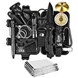 JINAGER Survival kit, Professional Emergency Survival gear 15 in 1, Upgraded Tactical Defense Tool for Hiking Camping Climbing Adventures, Emergency Tool Gift for Men Boy Car