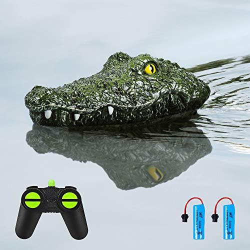 RC Boat Electric Racing Boat,2.4G High-Speed Simulation Remote Control Alligator Head,Simulation Swimming Crocodile Head Ship Spoof Toy - Floating Fake Alligator Head for Pools Lakes Ponds