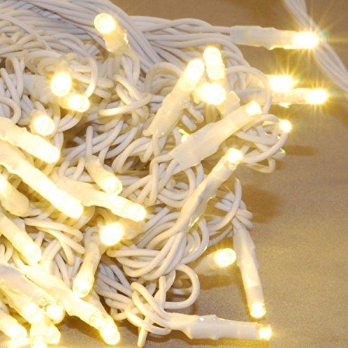 JnDee Trade Guirlande lumineuse avec 100/200 lumières LED blanches fonctionnant sur câble secteur pour design et décoration d'intérieur - 10 m/20 m, blanc chaud, 100LED