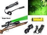 LMJ-CN® 100 Patio Verde cree luz XP-E Q5 LED Coyote Hog Hunting linterna de luz con interruptor de presión y ferrocarril Monte