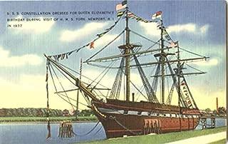 U. S. S. Constellation Dressed For Queen Elizabeth's Birthday During Visit Of H. M. S. York Original Vintage Postcard