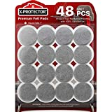 Furniture Pads Floor Protectors X-PROTECTOR Grey 48 PCS - Felt Pads for Chair