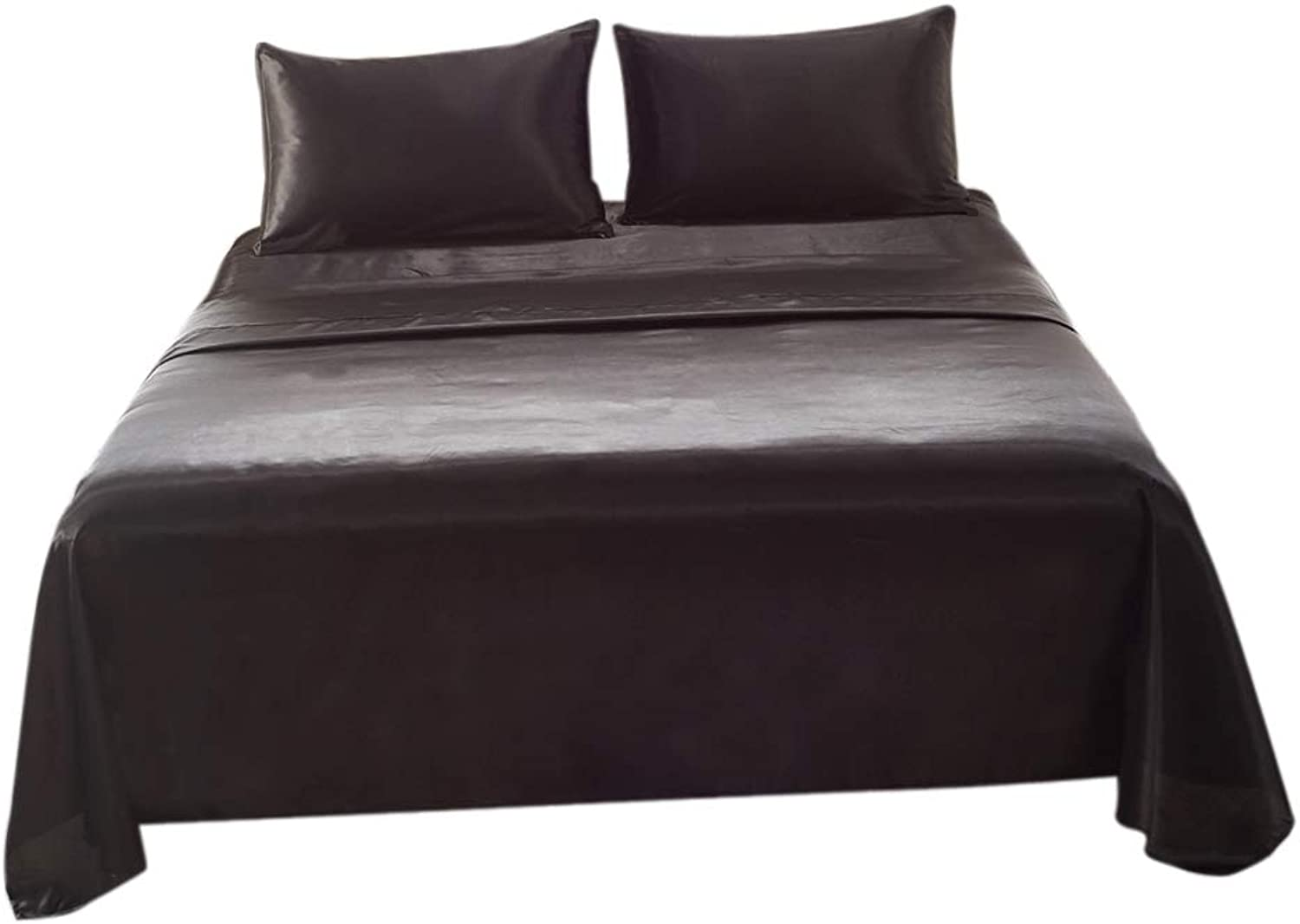 Homyl Bed Sheet Set  Fitted & Flat Sheet & Pillowcase  Twin Queen King Size Optional  Super Soft & Hypoallergenic  Black, King (4 Piece)
