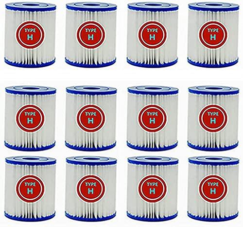 Cartuchos de filtro de piscina tipo H, filtro tipo H para Intex Krystal Clear modelo 601, cartucho de filtro de fácil ajuste tipo H para bombas de filtro Intex 28602 GS, 28601 GS (paquete de 12)