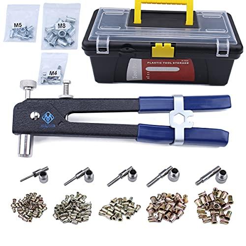 Muzata 465 Pieces Blind Rivet Nut Kit Set, Riveter Tool, Rivet Nut Tool RK01
