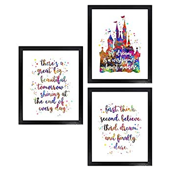 Dignovel Studios Unframed Set of 3 8X10 There is a Great Big Beautiful Tomorrow Inspirational Quotes Watercolor Art Print Set Girl Room Decor dnc24