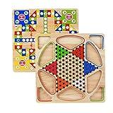 Yililay Chinese Checkers 2 en 1 Juego de Puzzle de Madera de Color Caqui de Ajedrez Juego de Mesa para la relación Padre-Hijo para niños Adultos
