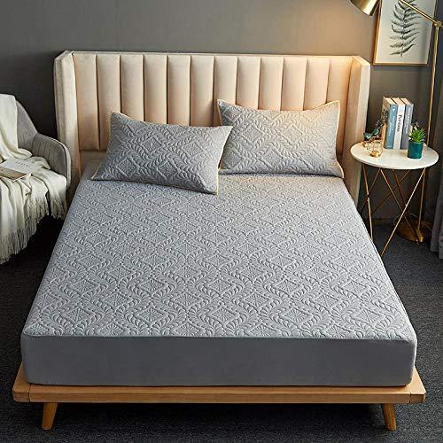 FJMLAY Sábanas ajustablesperfecto para el colchón, sensación Suave,Sábanas Acolchadas Impermeables, Almohadillas Protectoras para Apartamentos de Dormitorio-Grey_2_200cmx220cm