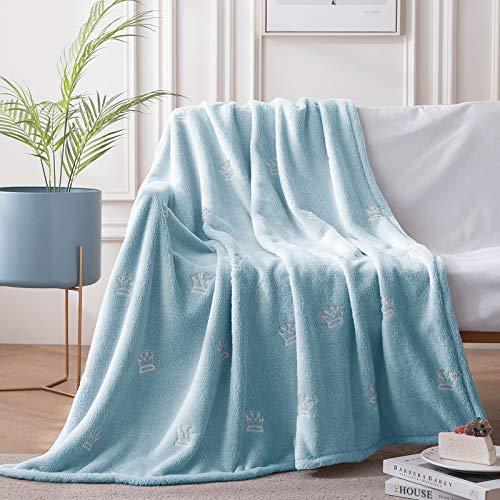 Decke Flanell Krone blau im Dunkeln leuchten Geschenk für Kinder Jungen Mädchen Teen Baby Decken für Sofa Kinderbett Bett Reisende Bettdecke Leichte gemütliche Bequeme Decke 100cm*150cm
