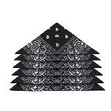 GuKKK Pañuelos Bandanas, 6 Piezas Unisex Bandana, Multifuncion Cabeza Cuello Bufanda, Cuello Algodón Bandanas, Hombre Cuello Pañuelo Mujer Deportivo pañuelos Pañuelos(55CM * 55 CM) (Negro)