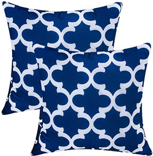 Cushion Covers Creative Pillow Canvas for sofa -45x45cm_X-Dark blue Flower-2pcs