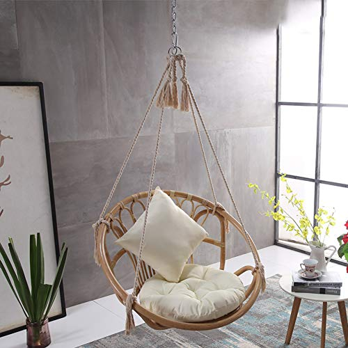 HLSUSAN Hammock Swing Chair, Rattan Cotton Rope Hanging Cotton Rope Macrame Chairs for Outdoor & Indoor, Garden Patio Balcony Living Room
