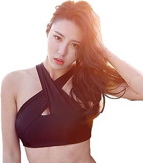Yoga Bra-Fitness Halter Back Underwear Fashion Swimsuit Shockproof Halter Sports Bra (Color : Black, Size : M)