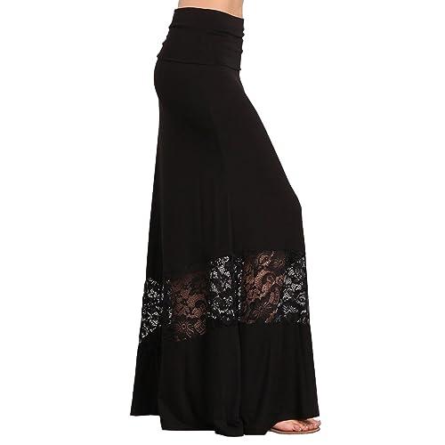7893cc1f15 HEYHUN Womens Casual Tie Dye Solid Boho Hippie Long Maxi Skirt w Lace  Detail S-