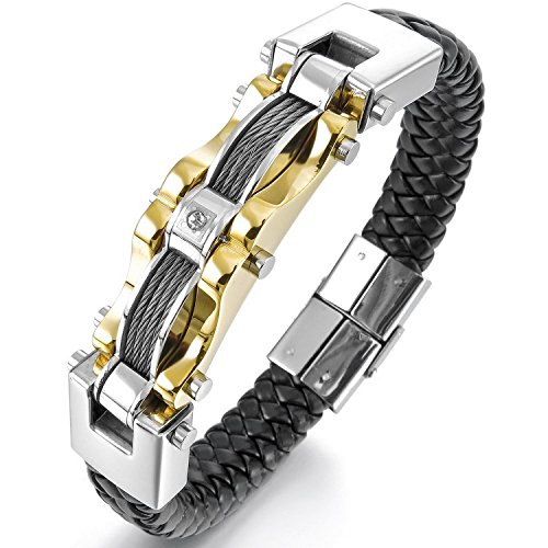 HITOP Men's Punk Stainless Steel Genuine Leather Cable CZ Cuff Bracelet Bangle (Gold Silber Schwarz)