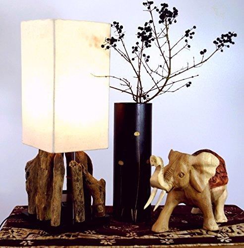 Guru-Shop Lampe de Table / Lampe de Table Kinshasa, Fait à la Main à Bali Matériau Naturel Unique, Bois Flotté, Coton - Modèle Kinshasa, Boisdedérive, 52x17x17 cm