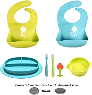 Baby Feeding Set - Silicone Bib Plates Bowls Spoons BPA Free -Toddler Divided Plate Suction Bowl & Soft Spoon Teether- Self Feed, Easy Clean,Safe for Children, Waterproof Spill Resistant