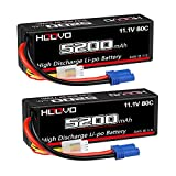 HOOVO 3S 11.1V 80C 5200mAh RC Lipo Battery Hard Case with EC5 Connector for RC Car Boat Truck Heli Airplane UAV Drone FPV Racing (2 Packs)