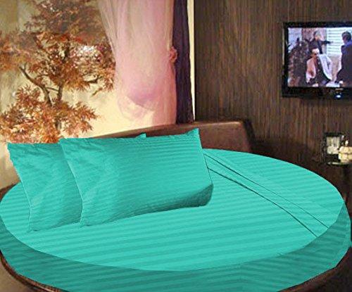 Cama redonda SCALABEDDING rayas 6piezas Juego de sábanas 300TC 100% algodón egipcio doble 80cm de diámetro), color verde