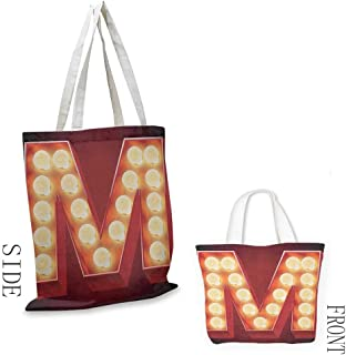 Simple casual handbag Letter M Vintage Alphabet Collection of Old Movie Theaters Casinos Retro Type Canvas zipper 16.5