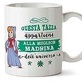 Mugffins Madrina Tazza/Mug - Questa Tazza Appartiene alla Miglior Madrina dell'Universo - Idea Regalo Giorno di Pasqua/Battesimo - Tazza Migliore Madr