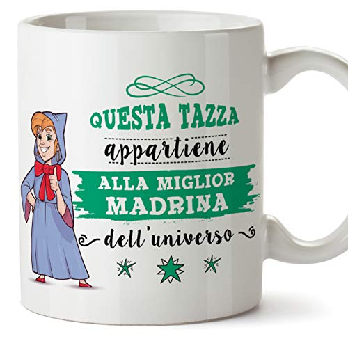 Mugffins Madrina Tazza Mug - Questa Tazza Appartiene alla Miglior Madrina dell Universo - Idea Regalo Giorno di Pasqua Battesimo - Tazza Migliore Madr
