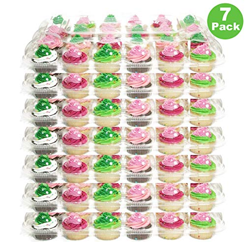 (24 Pack x 7 Sets) Farielyn-X Stackable Cupcake Carrier Holders for 24 Standard Cupcakes, Strongest Cupcake Boxes, Clear Plastic Disposable Cupcake Containers, Tall Dome Detachable Lid, Storage Tray
