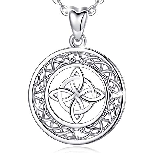 925 Sterling Silver Celtic Knot Necklace, AEONSLOVE 925 Irish Endless Love Knot Pendant Jewelry Birthday Gift for Women Mom Wife, 18' Rolo Chain