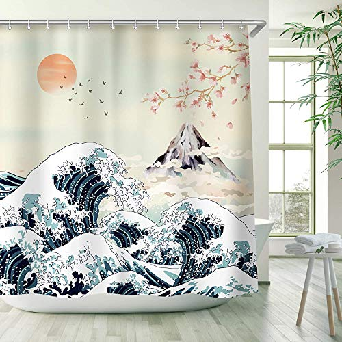 lovedomi Fuji Mountain Scenery Pink Cherry Blossom and Retro Old Traditional Watercolor Handgemalt Ocean Waves Red Sun Japanese Theme Shower Curtain Quick Drying 183 x 183 cm