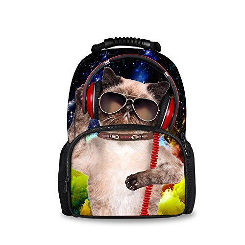 Injersdesigns Casual Mochila Mujer Hombre Viajes Mochila Laptop School Bolsas para Adolescentes DJ Perro Gato Alumnos Bookbags para Niñas Niños (C4335A)