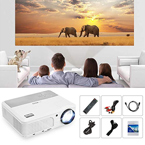EUG Home Cinema LCD WiFi Bluetooth Projector 4400 Lumen Airplay/Miracast Wireless Video Projector HD 1080P Supported with HDMI VGA AV USB Aux Audio