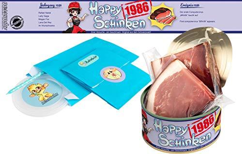 Happy Schinken   200 Gramm Schwarzwälder Schinken in der Dose   Personalisiert mit Wunsch- Geburtsjahr und Namen   Geburtstagsgeschenk   Geschenk   Geschenkidee (1986)