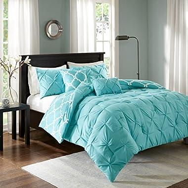 Madison Park Essentials Kasey King/Cal King Size Bed Comforter Set - Aqua, Reversible Tufted, Ogee Fretwork – 5 Pieces Bedding Sets – Ultra Soft Microfiber Bedroom Comforters