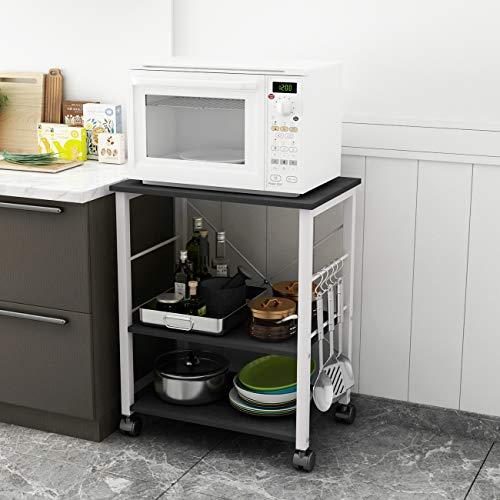 soges Estante para Máquina de Café de Microondas de 3 Gradas Almacenamiento para Cocina Gabinete Estante para Cocina con Carrito de Servicio,W4-BK-2020